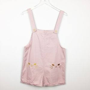 Vintage | Pink Embroidered Cat Romper